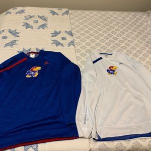 Like New 2 KU Adidas Dri Fit Long Sleeve Shirts